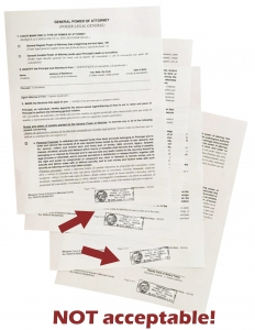 Apostille Tips - no stamping at the bottom of a page; CA apostille service marin apostilles